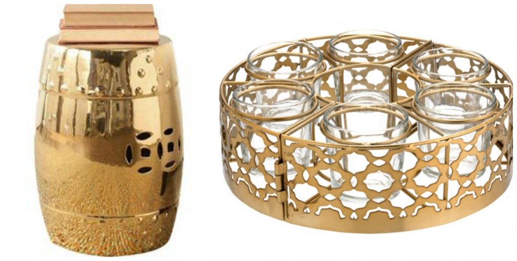Gold Indoor Outdoor Stool from Joss & Main Table centrepiece tealight holder for parasol